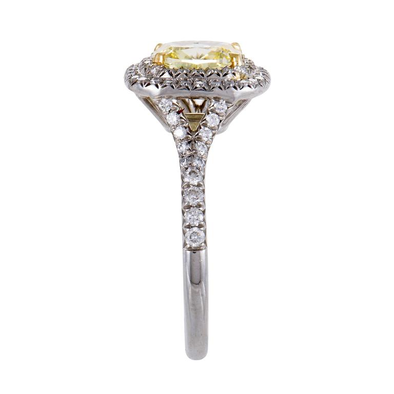 Tiffany & Co. Soleste White and Yellow Diamond Gold Platinum Engagement Ring In As new Condition For Sale In Southhampton, PA