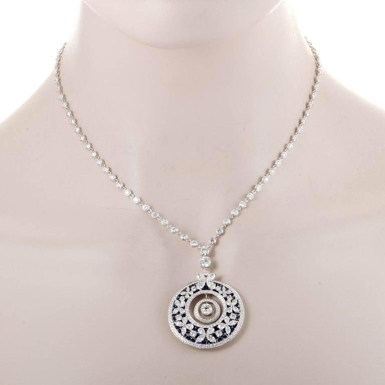 Graff diamonds diamond and sapphire butterfly white gold pendant white gold pendant necklace for sale spellbinding dcor with adorable butterfly motifs is presented in scintillating diamonds totaling 1039 carats as aloadofball Images