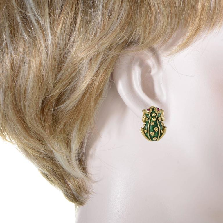 David Webb Ruby and Enameled Yellow Gold Frog Clip-On Earrings 2