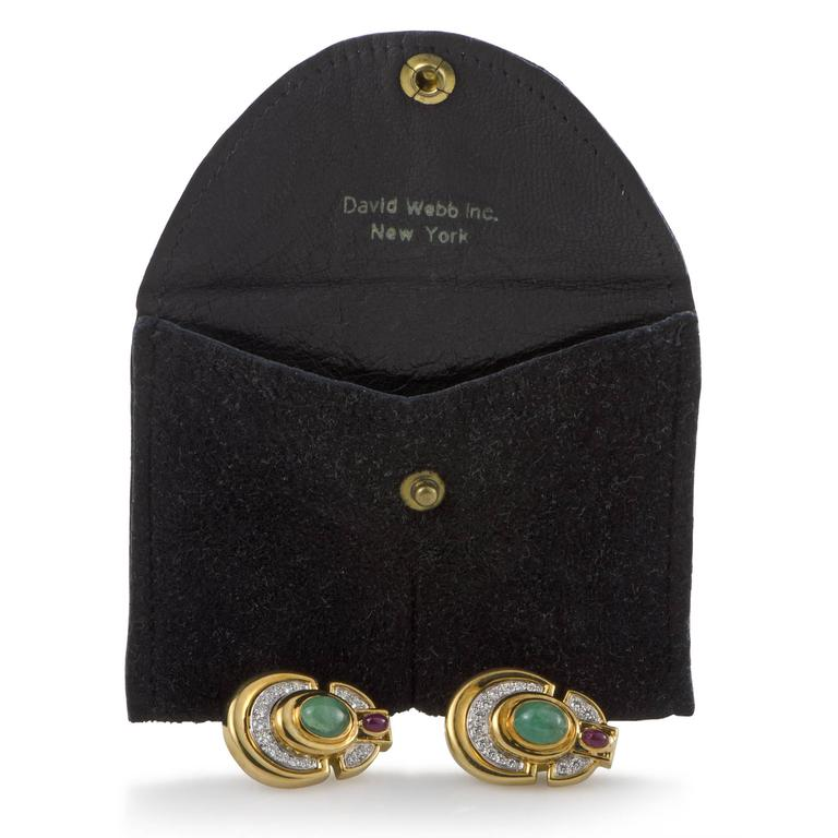 David Webb Diamond Emerald Ruby Yellow and White Gold Clip-On Earrings For Sale 1
