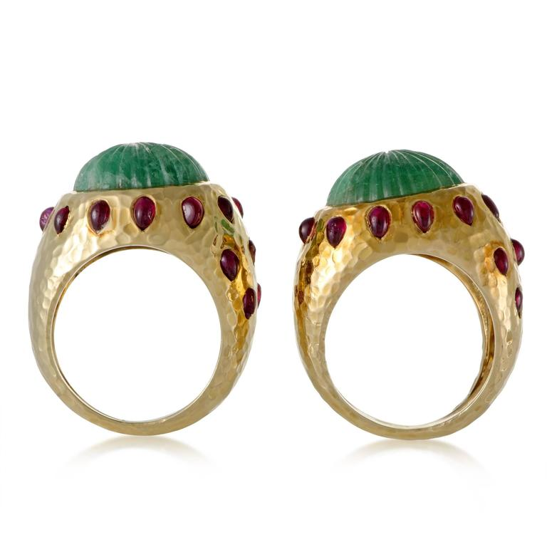 David Webb Emerald Ruby Yellow Gold Set of Rings 2