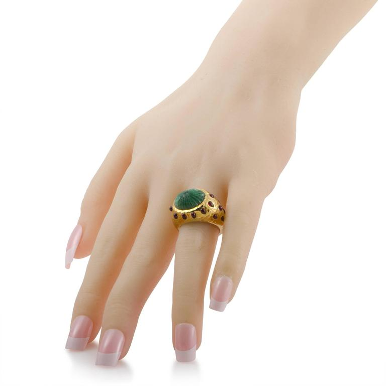 David Webb Emerald Ruby Yellow Gold Set of Rings 4