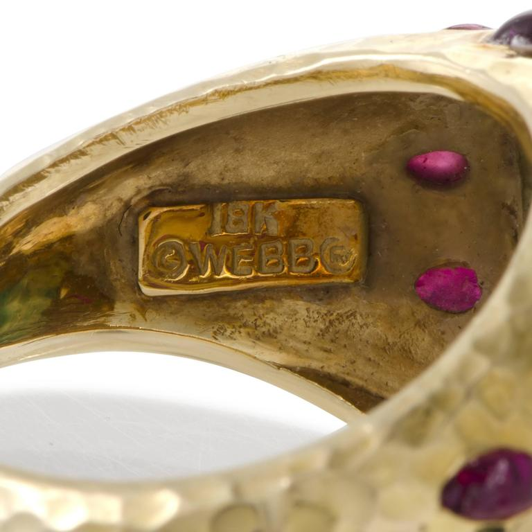 David Webb Emerald Ruby Yellow Gold Set of Rings 5