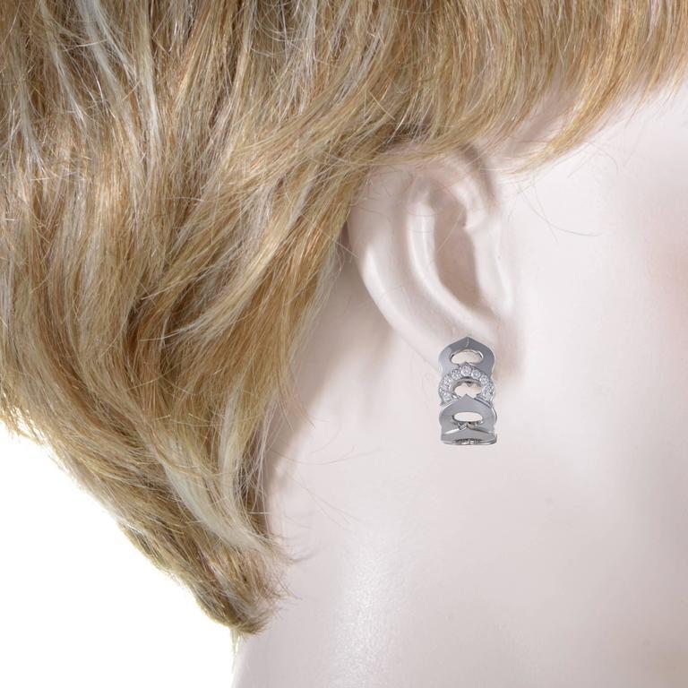 Cartier C de Cartier Diamond White Gold Clip-On Earrings 2