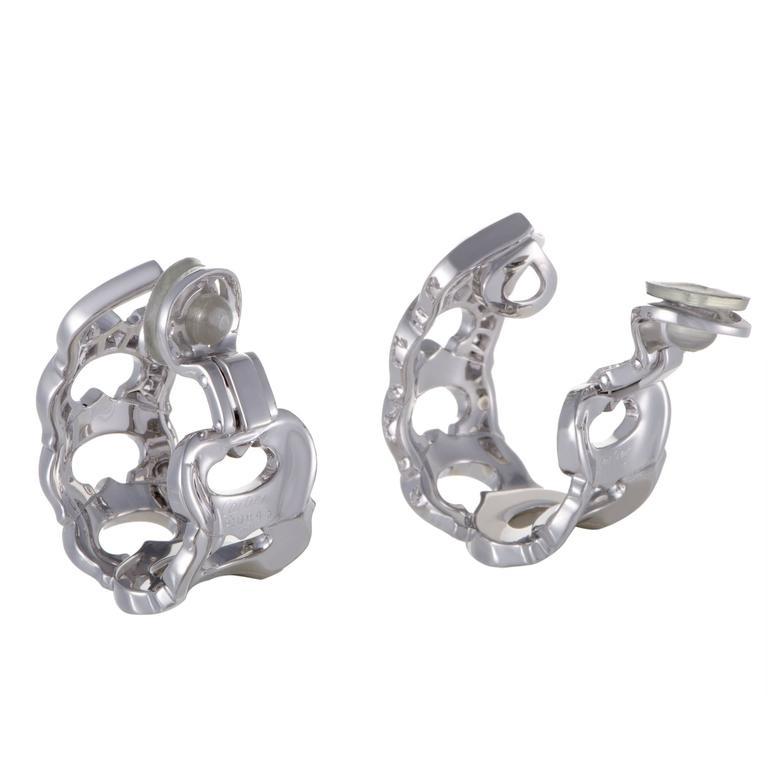 Cartier C de Cartier Diamond White Gold Clip-On Earrings 3