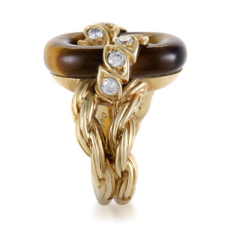 Van Cleef & Arpels Diamond Tiger's Eye Yellow Gold Ring In Excellent Condition For Sale In Southhampton, PA