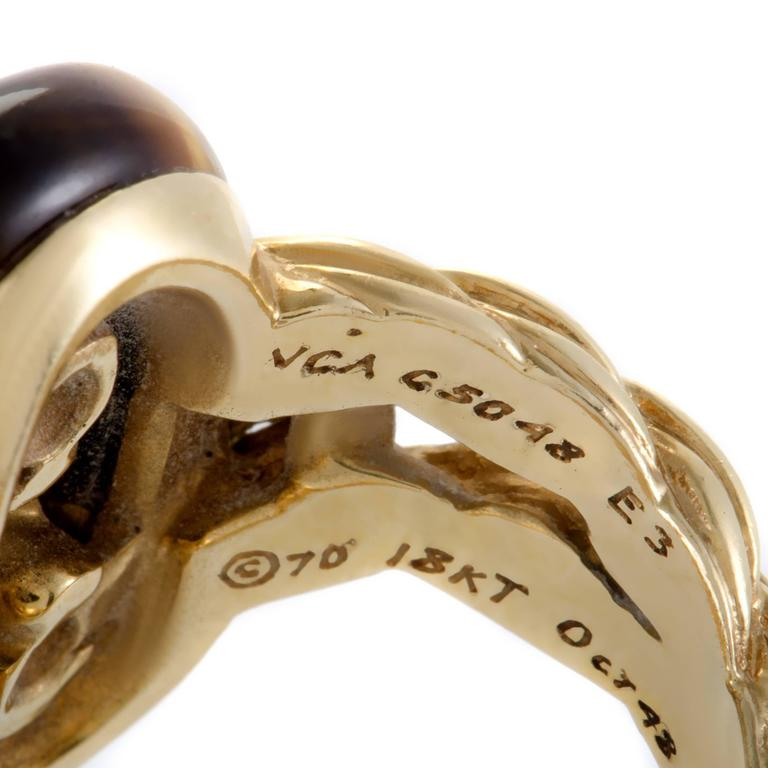 Van Cleef & Arpels Diamond Tiger's Eye Yellow Gold Ring For Sale 1