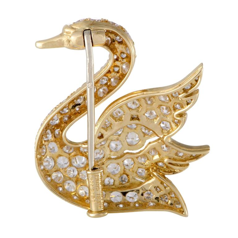 Mauboussin Ruby Full Diamond Pave Yellow Gold Swan Brooch 2