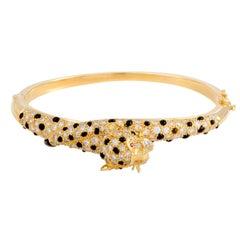 Diamond Ruby and Onyx Yellow Gold Bangle Bracelet