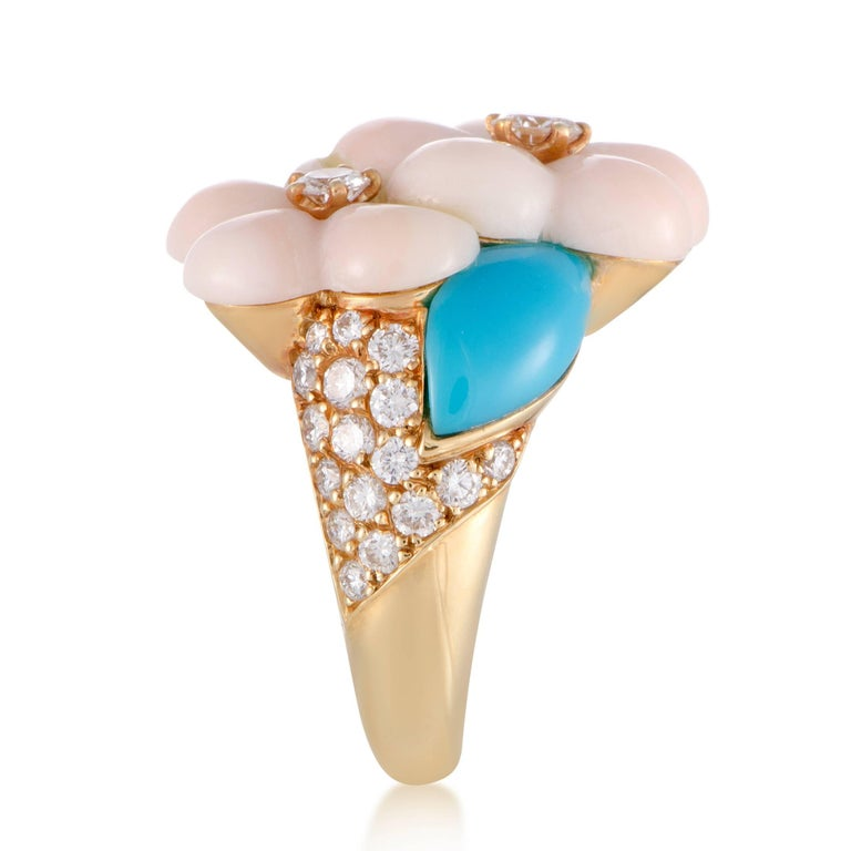 Van Cleef & Arpels Diamond Coral and Turquoise Yellow Gold Ring 3