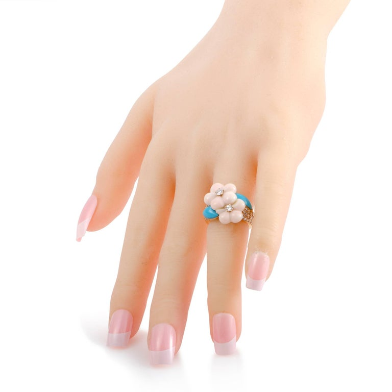 Women's Van Cleef & Arpels Diamond Coral and Turquoise Yellow Gold Ring For Sale