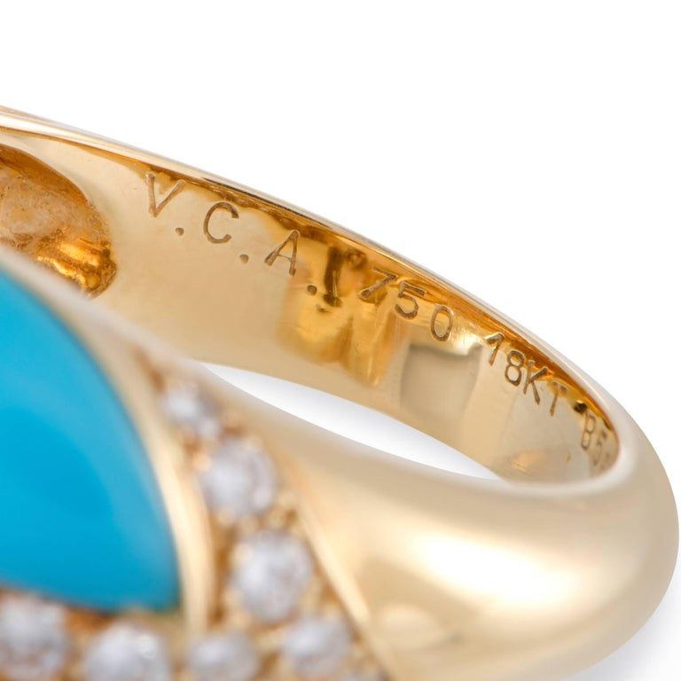 Van Cleef & Arpels Diamond Coral and Turquoise Yellow Gold Ring For Sale 1
