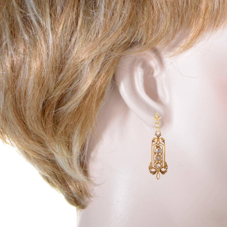 Diamond Yellow Gold Dangle Earrings 2