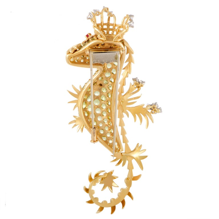 Tiffany & Co. Schlumberger Peridot Diamond Ruby Gold Seahorse Pendant Brooch 2