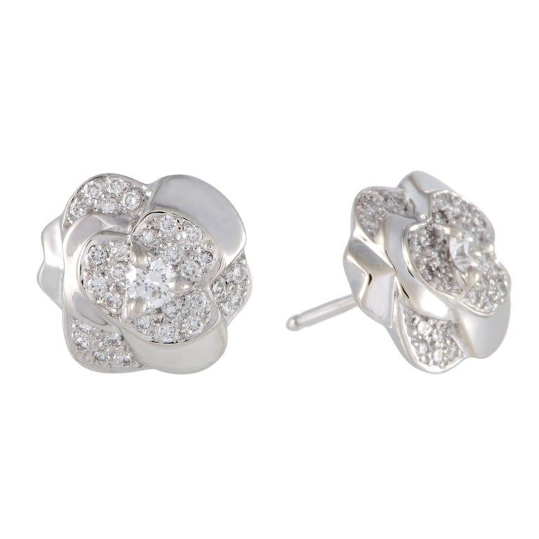 chanel camellia diamond and gold earrings at 1stdibs
