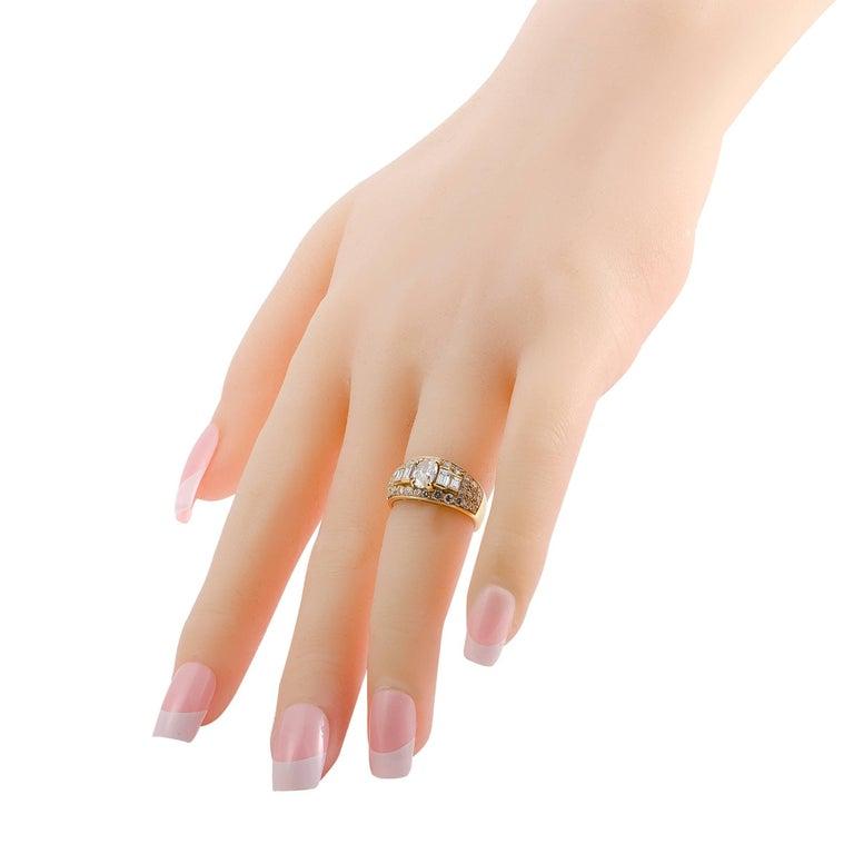 Women's Bulgari Diamond and Yellow Gold Band Ring For Sale