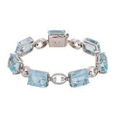 H. Stern Diamond and Aquamarine White Gold Bracelet