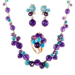 Cartier Delices de Goa Diamond Amethyst and Turquoise Rose Gold Jewelry Set