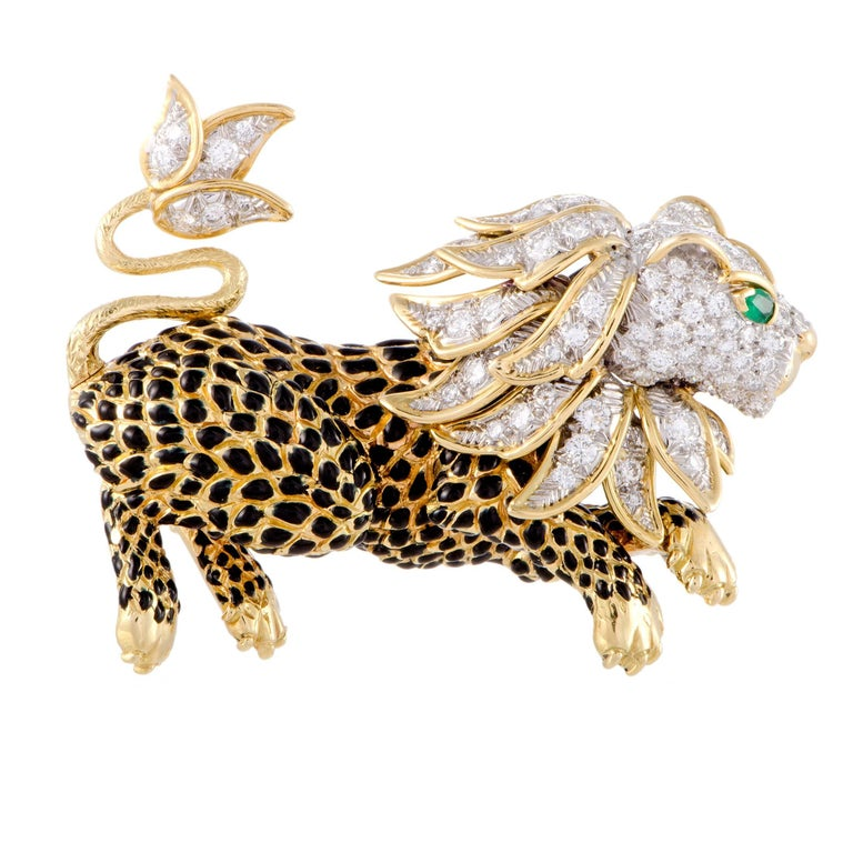 David Webb Diamond Pave and Emerald Gold Leapon Brooch