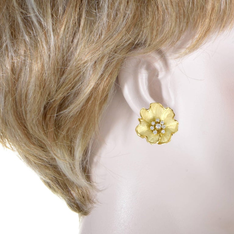 Diamond and Enamel Yellow Gold Flower Earrings 2