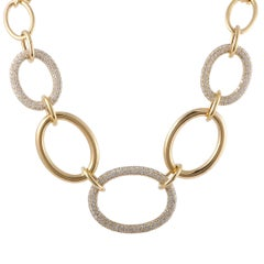 Remas Diamond Pave Large Oval Links Yellow Gold Collar Necklace