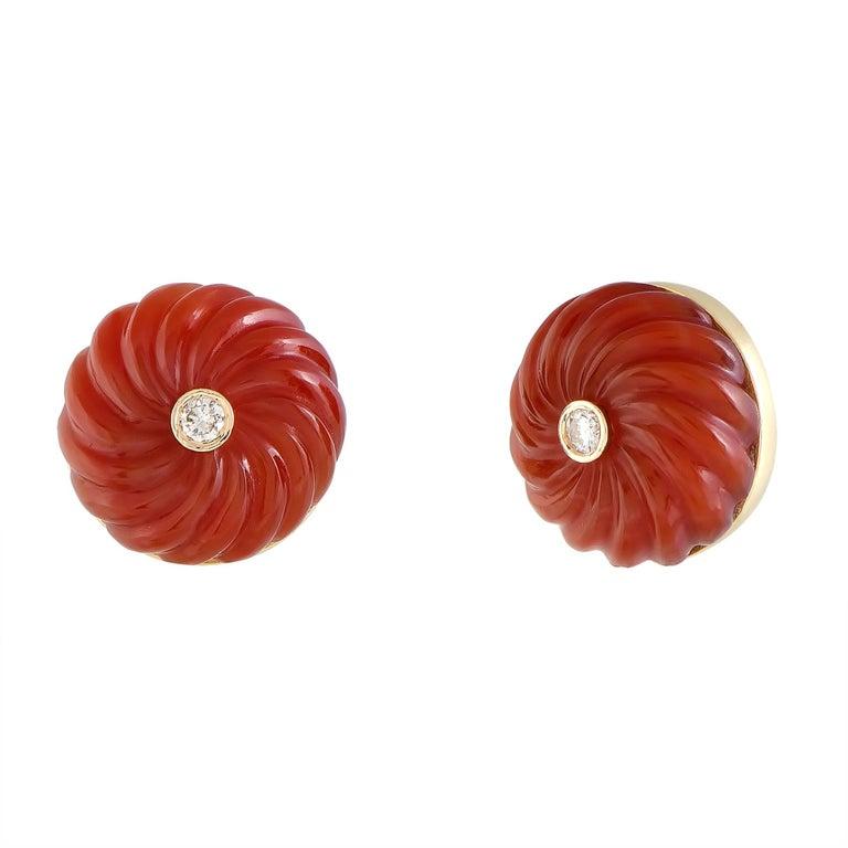 Cartier Diamond and Carnelian Yellow Gold Earrings