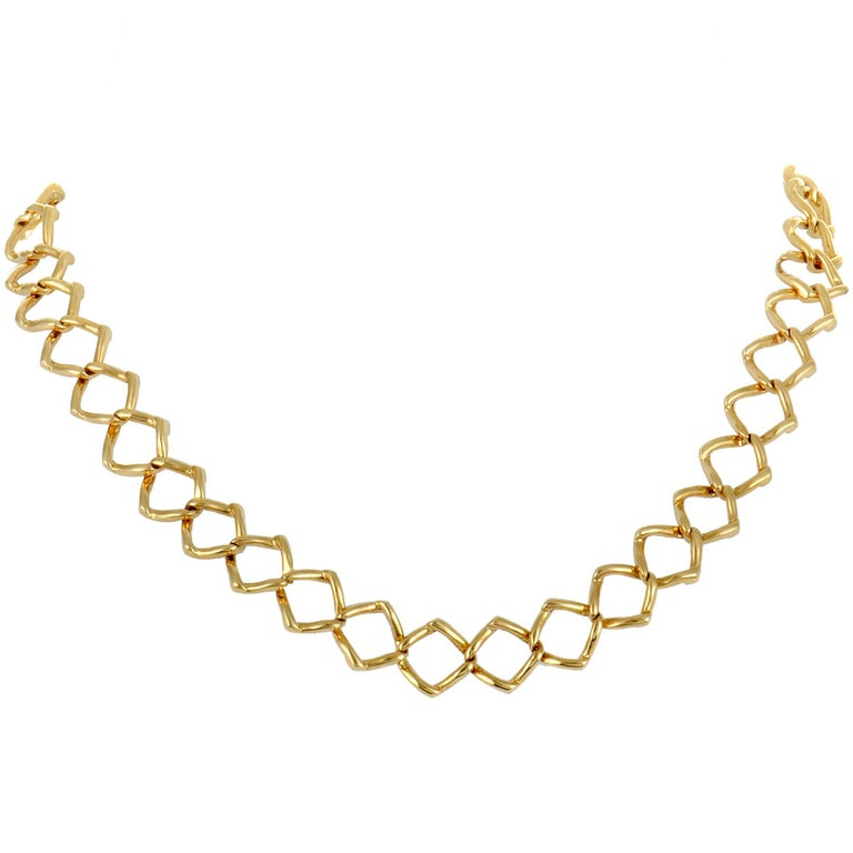 Tiffany & Co. Paloma Picasso Yellow Gold Square Link Collar Necklace