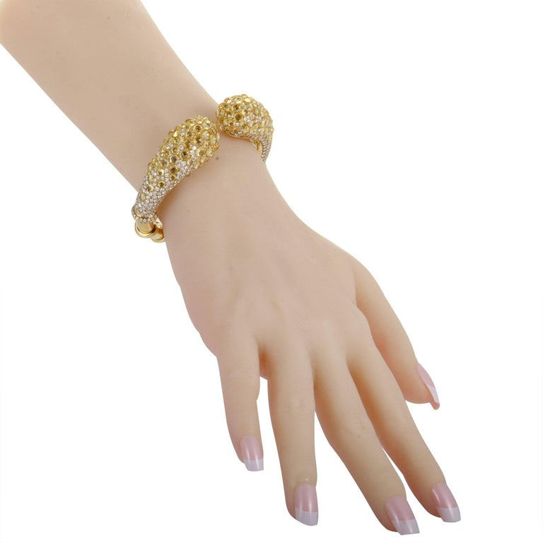 Mikimoto Diamond and Yellow Sapphire Yellow Gold Open Bangle Bracelet In Excellent Condition For Sale In Southhampton, PA
