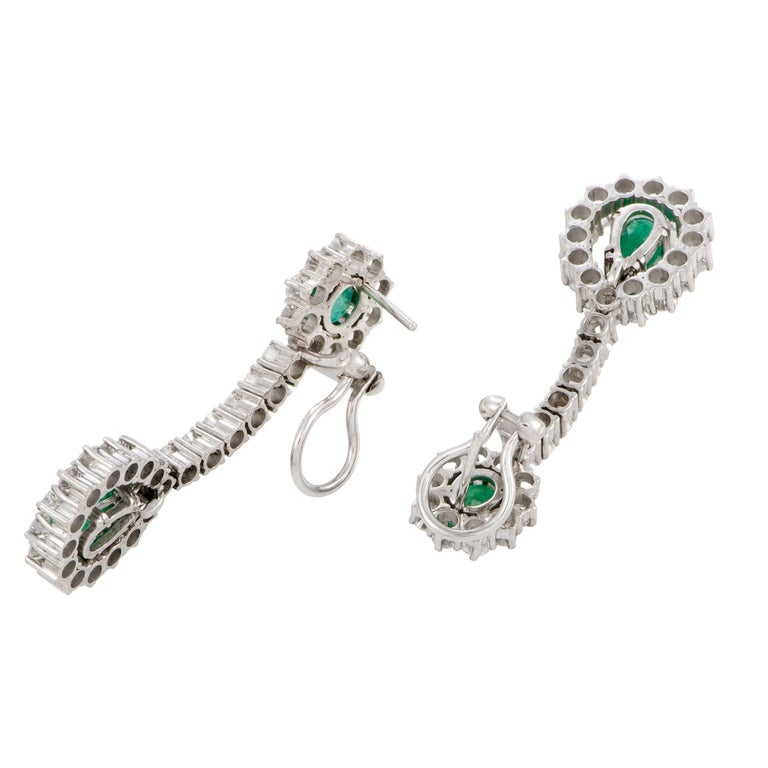 Full Diamond Pave and Emerald White Gold Long Drop Earrings 3