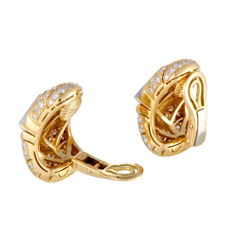Bulgari Full Diamond Pave Yellow Gold and Platinum Clip-On Earrings In Excellent Condition For Sale In Southhampton, PA