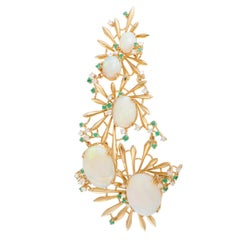 Diamond Emerald and Opal Yellow Gold Pendant/Brooch