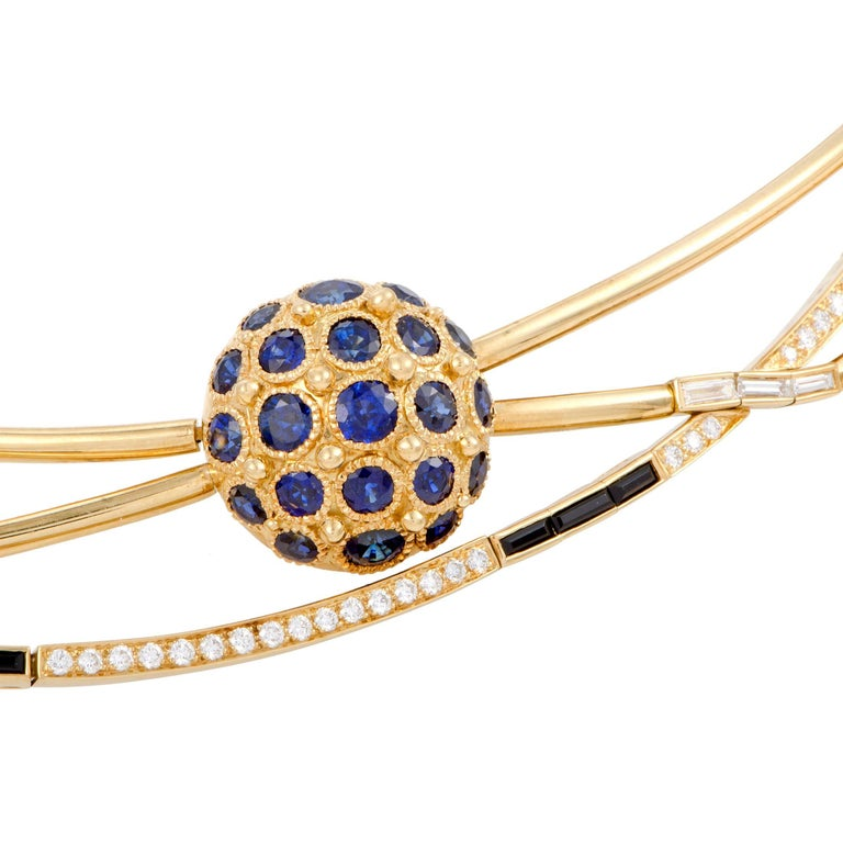 Diamond and Sapphire Yellow Gold Multi-Strand Collar Necklace In Excellent Condition For Sale In Southhampton, PA
