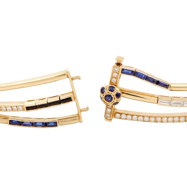 Women's Diamond and Sapphire Yellow Gold Multi-Strand Collar Necklace For Sale