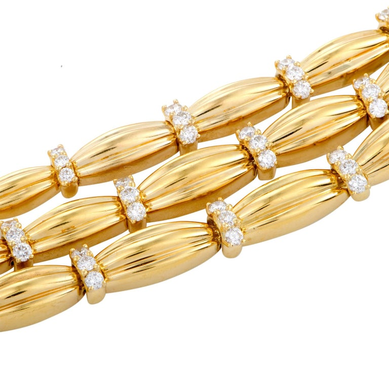 Tiffany & Co. Diamond Yellow Gold Three-Strand Collar Necklace In Excellent Condition For Sale In Southhampton, PA