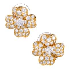Van Cleef & Arpels Cosmos Full Diamond Pave Yellow Gold Flower Clip-On Earrings