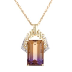 Diamond and Rectangular Ametrine Yellow and White Gold Pendant Necklace