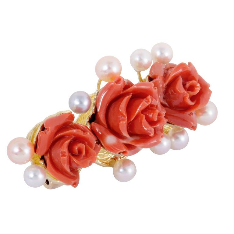 Pearls and Coral Roses Yellow Gold Pendant/Brooch 2