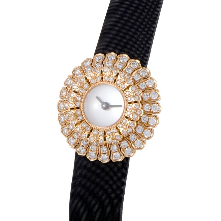 Buccellati Ladies Rose Gold Diamond Anthochron Zinnia Quartz Wristwatch 2