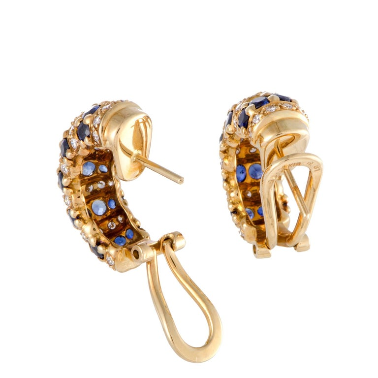 Diamond and Sapphire Yellow Gold Huggie Earrings In Excellent Condition For Sale In Southhampton, PA