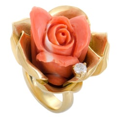 Diamond and Coral Rose Yellow Gold Ring