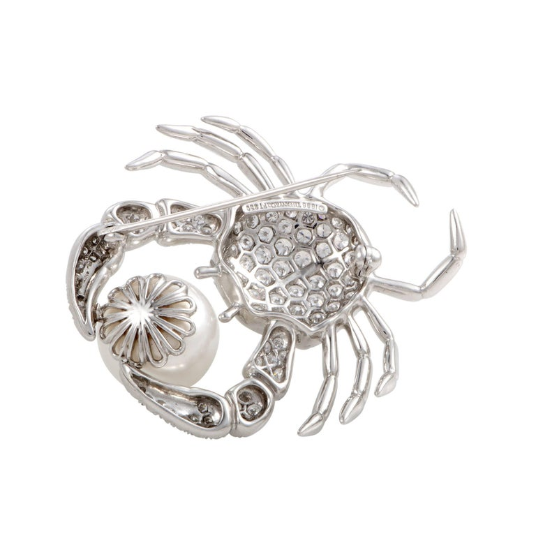 Round Cut Tiffany & Co. Diamond Pave and White Pearl Platinum Crab Brooch For Sale
