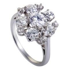 Diamond Platinum Cluster Ring