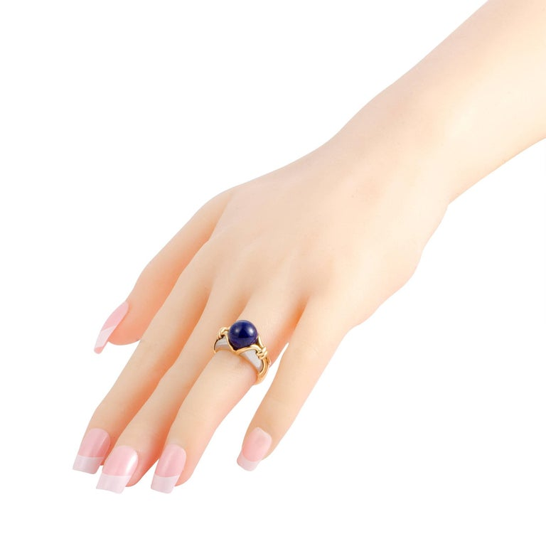 Women's Bulgari Lapis Lazuli White and Yellow Gold Cocktail Ring For Sale
