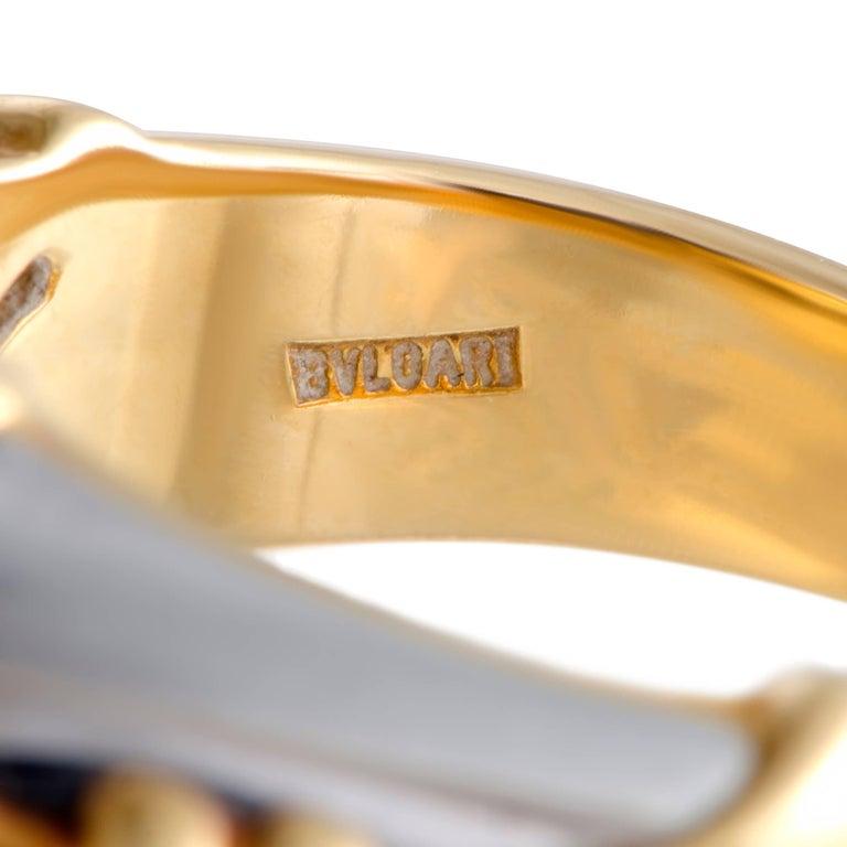 Bulgari Lapis Lazuli White and Yellow Gold Cocktail Ring For Sale 1