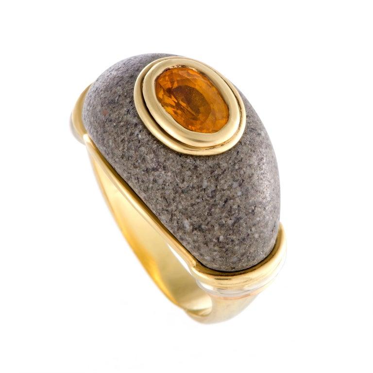 Cartier Citrine and Gray Jade Band Ring
