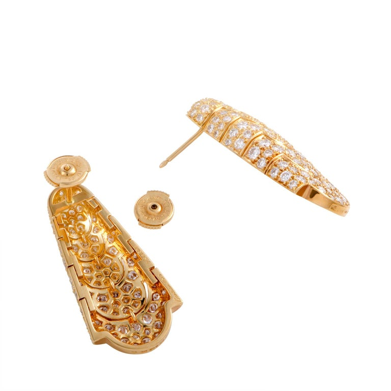Round Cut Cartier Full Diamond Pave Vintage Yellow Gold Drop Earrings For Sale