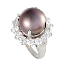 Diamond and Black Pearl Platinum Cocktail Ring
