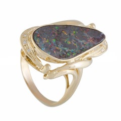 Diamond and Fire Opal Gold Cocktail Ring