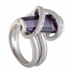 Diamond and Amethyst Platinum Cross over Ring