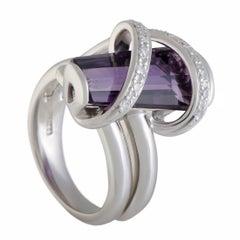 Diamond and Amethyst Platinum Cross over Ring